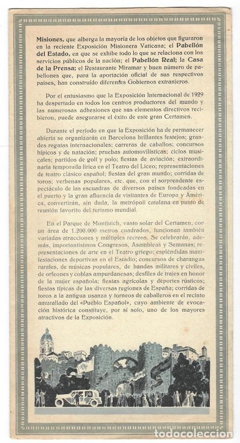 Folletos de turismo: Tríptico de la Exposición Internacional Barcelona 1929 - Foto 2 - 183224523
