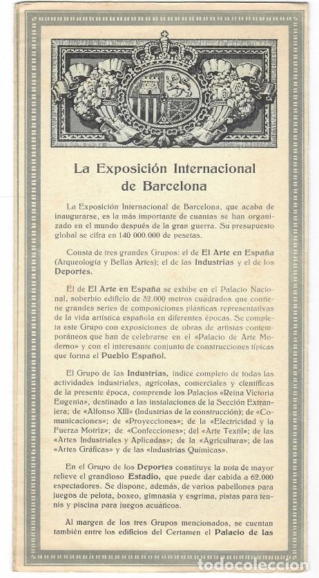 Folletos de turismo: Tríptico de la Exposición Internacional Barcelona 1929 - Foto 3 - 183224523