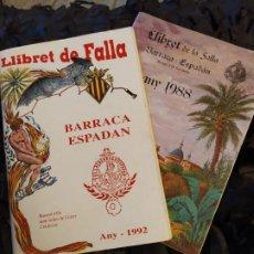 Folletos de turismo: LOTE DOS LLIBRET LIBROS DE LA SALA BARRACA ESPADÁN 1988 /1992 FALLA. Lote 183490798
