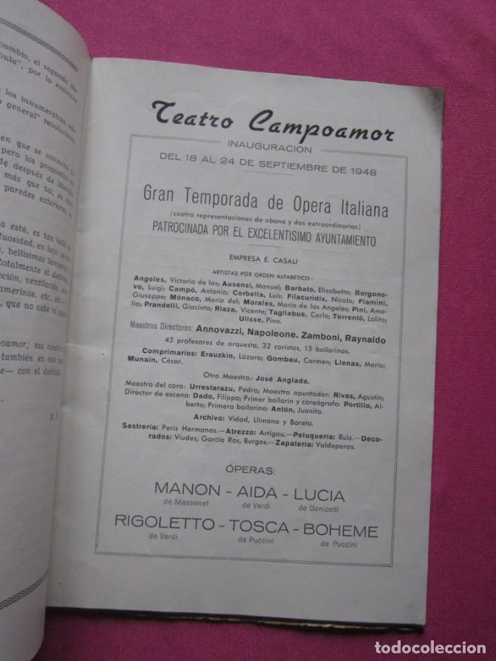 INAGURACIOS DEL TEATRO CAMPOAMOR DE OVIEDO PROGRAMA AÑO 1948 (Coleccionismo - Folletos de Turismo)
