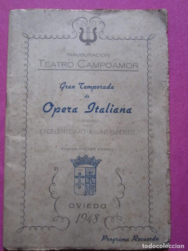 Folletos de turismo: INAGURACIOS DEL TEATRO CAMPOAMOR DE OVIEDO PROGRAMA AÑO 1948 - Foto 2 - 183673687