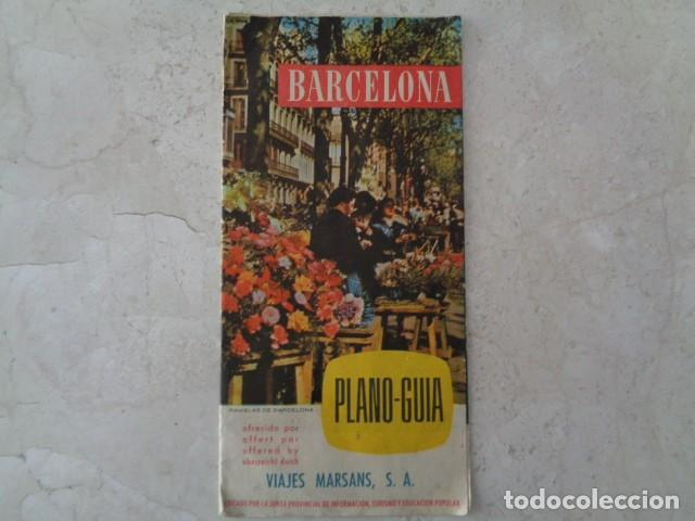 BARCELONA. VIAJES MARSANS. PLANO TURÍSTICO DESPLEGABLE DE BARCELONA. 1958 (Coleccionismo - Folletos de Turismo)