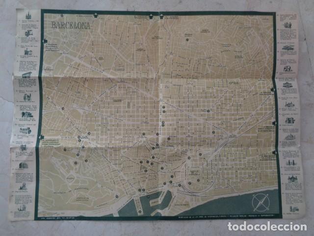 Folletos de turismo: BARCELONA. VIAJES MARSANS. PLANO TURÍSTICO DESPLEGABLE DE BARCELONA. 1958 - Foto 3 - 184437968