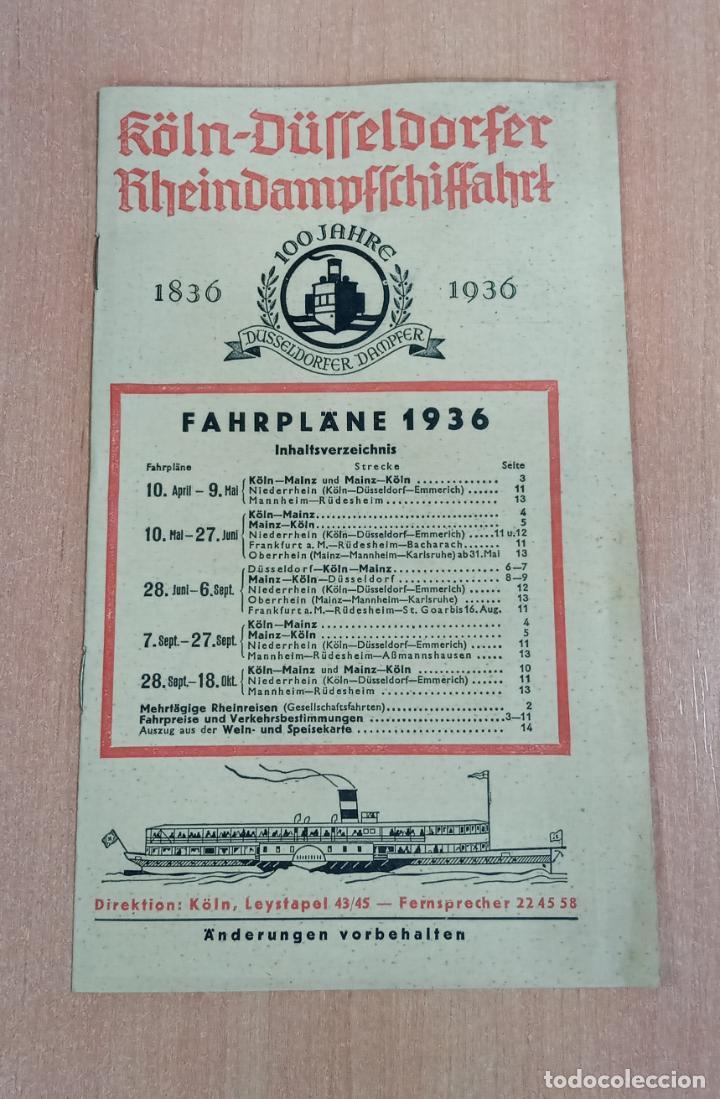 LISTADO PRECIOS Y HORARIOS. 100 JAHRE DUSSELDORFER DAMPFER 1836 - 1936. VIAJE (Coleccionismo - Folletos de Turismo)