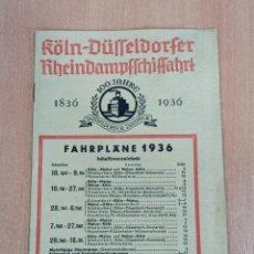 Folletos de turismo: LISTADO PRECIOS Y HORARIOS. 100 JAHRE DUSSELDORFER DAMPFER 1836 - 1936. VIAJE. Lote 185986811
