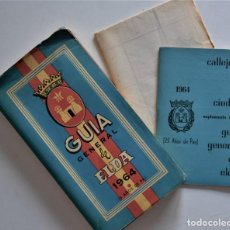 Folletos de turismo: ELDA (ALICANTE) - PRECIOSA GUÍA GENERAL DE ELDA AÑO 1964 CON PLANO Y CALLEJERO - 25 AÑOS DE PAZ. Lote 266650058