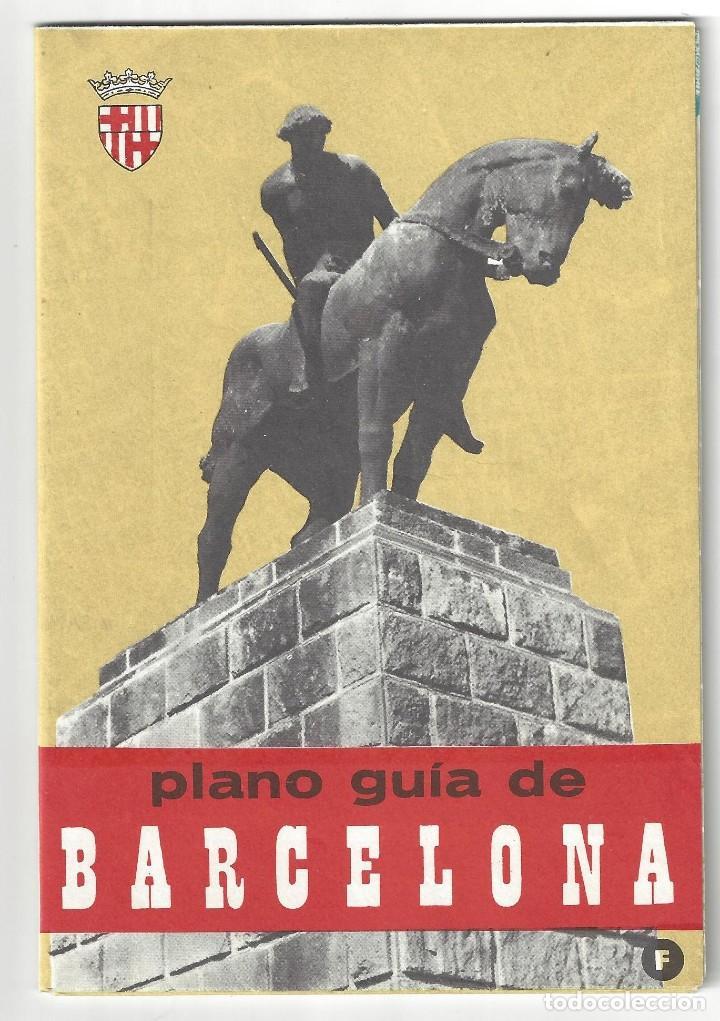 PLANO GUÍA DESPLEGABLE DE BARCELONA- 1965 (EN FRANCÉS) (Coleccionismo - Folletos de Turismo)