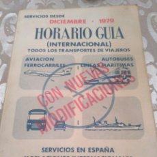 Folletos de turismo: HORARIO GUIA TRANSPORTES DICIEMBRE 1979 FERROCARRILES, AVIACION, AUTOBUSES, LINEAS MARITIMAS. Lote 188578593