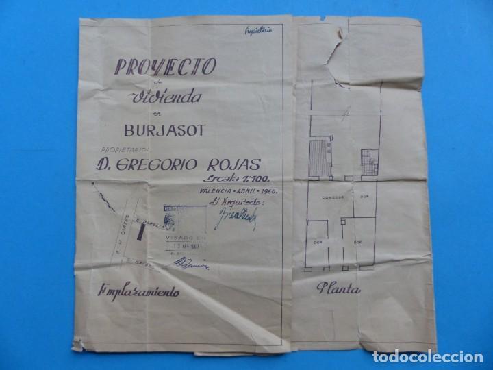 BURJASOT, VALENCIA - PROYECTO DE VIVIENDA - PLANO ESCALA 1:100 - AÑO 1960 (Coleccionismo - Folletos de Turismo)