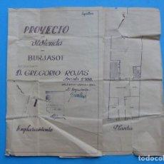 Folletos de turismo: BURJASOT, VALENCIA - PROYECTO DE VIVIENDA - PLANO ESCALA 1:100 - AÑO 1960. Lote 189575556