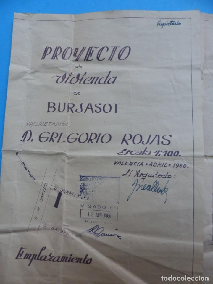 Folletos de turismo: BURJASOT, VALENCIA - PROYECTO DE VIVIENDA - PLANO ESCALA 1:100 - AÑO 1960 - Foto 2 - 189575556