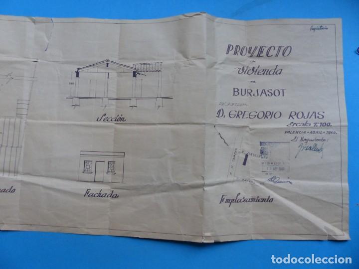 Folletos de turismo: BURJASOT, VALENCIA - PROYECTO DE VIVIENDA - PLANO ESCALA 1:100 - AÑO 1960 - Foto 4 - 189575556