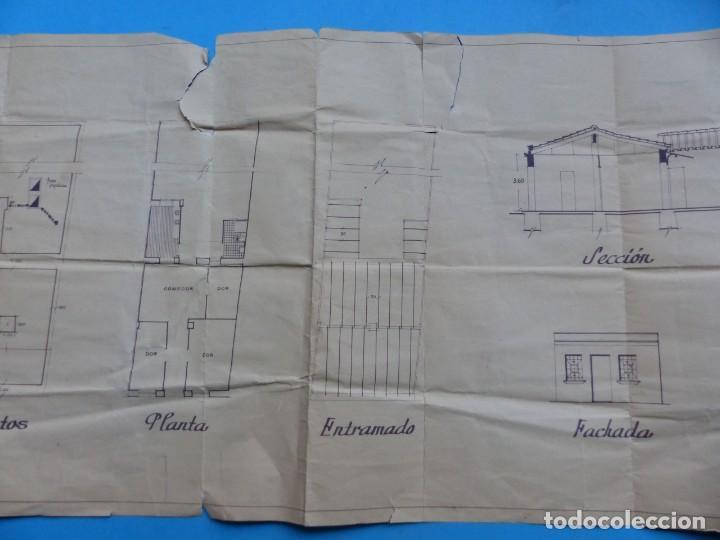 Folletos de turismo: BURJASOT, VALENCIA - PROYECTO DE VIVIENDA - PLANO ESCALA 1:100 - AÑO 1960 - Foto 5 - 189575556
