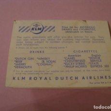 Brochures de tourisme: MENU A BORDO DE COMPAÑIA AEREA KLM. AÑOS 50. 11X8 CM.. Lote 189960475