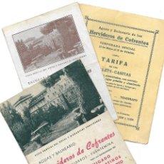 Folletos de turismo: LOTE 3 FOLLETOS AGUAS Y BALNEARIO HERVIDEROS DE COFRENTES FOLLETO, TARIFAS Y FOLLETO HOTEL ANTIGUOS. Lote 190635662