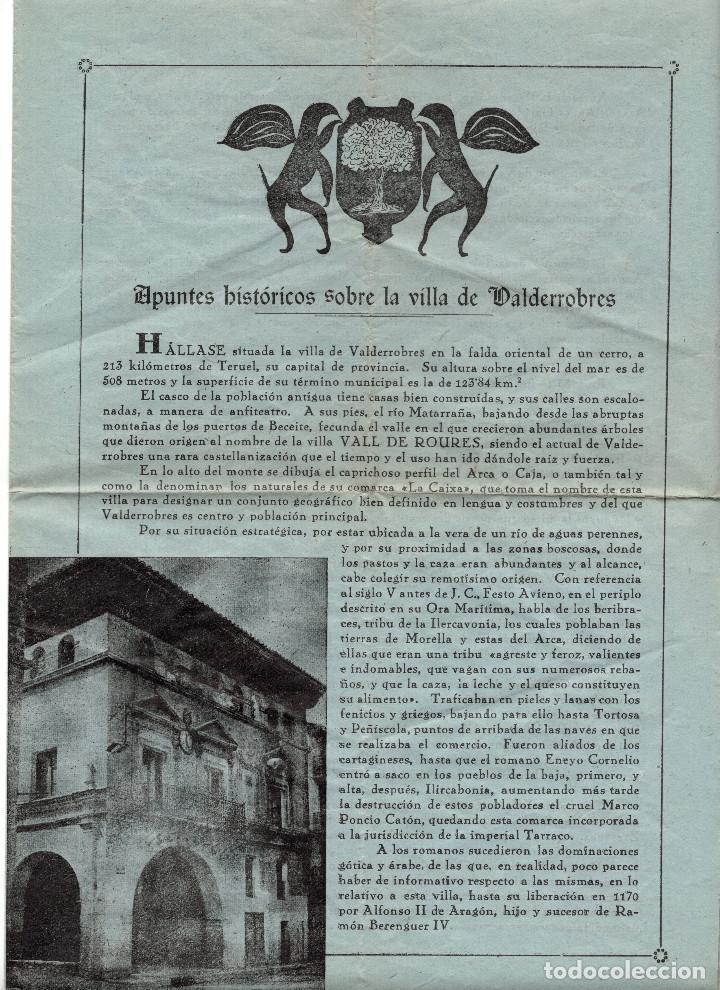 APUNTES HISTÓRICOS SOBRE LA VILLA DE VALDERROBRES. TERUEL. (Coleccionismo - Folletos de Turismo)