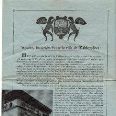 Folletos de turismo: APUNTES HISTÓRICOS SOBRE LA VILLA DE VALDERROBRES. TERUEL.. Lote 190852158
