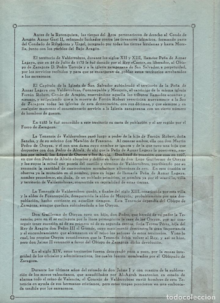 Folletos de turismo: APUNTES HISTÓRICOS SOBRE LA VILLA DE VALDERROBRES. TERUEL. - Foto 2 - 190852158
