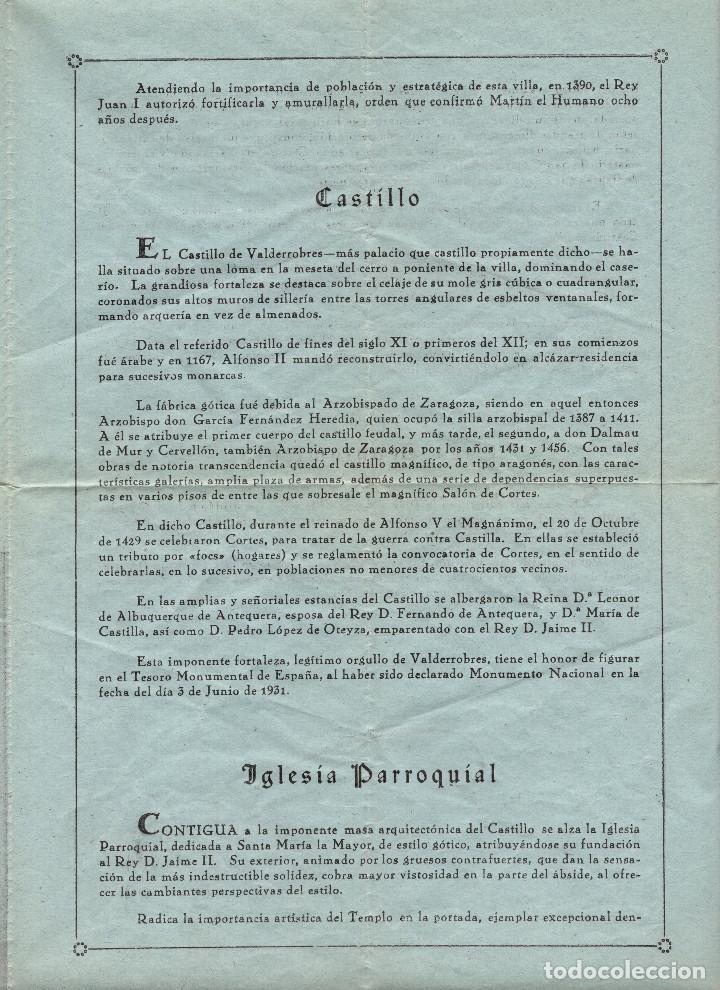 Folletos de turismo: APUNTES HISTÓRICOS SOBRE LA VILLA DE VALDERROBRES. TERUEL. - Foto 3 - 190852158