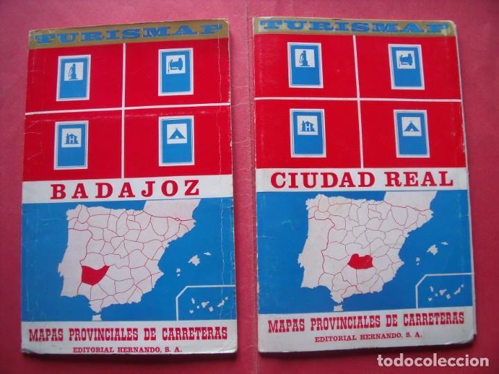 BADAJOZ.-CIUDAD REAL.-TURISMAP.-MAPAS PROVINCIALES DE CARRETERAS.-EDITORIAL HERNANDO S.A.-AÑO 1969. (Coleccionismo - Folletos de Turismo)