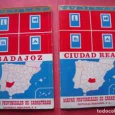 Folletos de turismo: BADAJOZ.-CIUDAD REAL.-TURISMAP.-MAPAS PROVINCIALES DE CARRETERAS.-EDITORIAL HERNANDO S.A.-AÑO 1969.. Lote 191150752