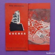 Folletos de turismo: CUENCA FOLLETO TURISMO D ATOS INFORMATIVOS 2 MAPAS DESPEGABES EN EL INTERIOR. Lote 192685656