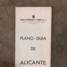 Folhetos de turismo: PLANO GUÍA DE ALICANTE. Lote 192716106