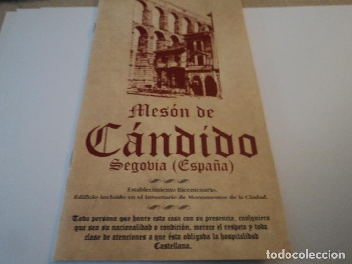 ANTIGUO FOLLETO MESÓN CÁNDIDO, FIRMADO (Coleccionismo - Folletos de Turismo)
