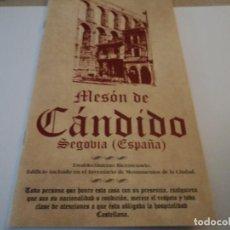 Folletos de turismo: ANTIGUO FOLLETO MESÓN CÁNDIDO, FIRMADO. Lote 193681960