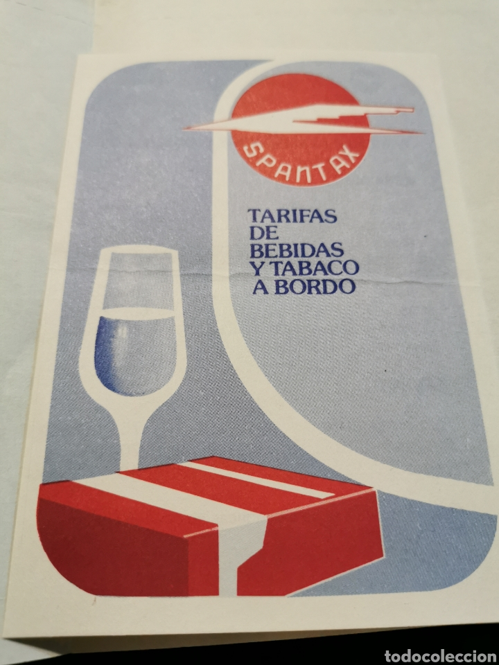 FOLLETO TARIFAS BEBIDAS Y TABACO SPANTAX (Coleccionismo - Folletos de Turismo)