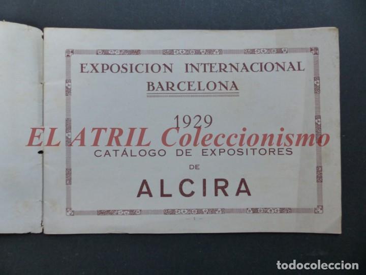 Folletos de turismo: ALCIRA, VALENCIA - EXPOSICION INTERNACIONAL BARCELONA, AÑO 1929, CATALOGO DE EXPOSITORES - Foto 2 - 194608737
