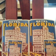 Folletos de turismo: HOTEL FLORIDA-MADRID-LOTE DE 4 FOLLETOS ADHESIVOS-2 DE 12X9CM Y 2 DE 6X4 CM.-EXCELENTES. Lote 194718546