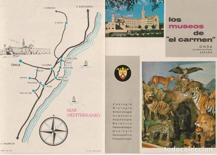 FOLLETO DIPTICO LOS MUSEOS DE EL CARMEN ONDA CASTELLON 1962 -- -R- 5 (Coleccionismo - Folletos de Turismo)