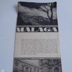 Folletos de turismo: MALAGA. PUBLICIDAD AÑOS 30. PATRONATO NACIONAL DE TURISMO. EN FRANCÉS. Lote 195080541
