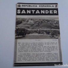 Folletos de turismo: SANTANDER. PUBLICIDAD AÑOS 30. PATRONATO NACIONAL DE TURISMO.. Lote 195080642