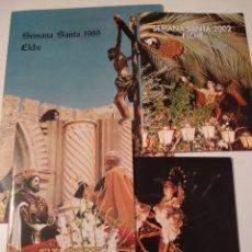 Folletos de turismo: ELCHE CUATRO PROGRAMAS DE SEMANA SANTA 1989 2000 2001 2002. Lote 195116413