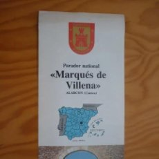Folletos de turismo: FOLLETO DE TURISMO PARADOR NATIONAL - MARQUÉS DE VILLENA - ALARCÓN , CUENCA ( EN FRANCÉS ) AÑOS 80. Lote 195137910