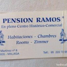 Folletos de turismo: ANTIGUA TARJETA PENSION RAMOS EN PLENO CENTRO HISTORICO COMERCIAL MALAGA HABITACIONES CHAMBRES ROOMS. Lote 195140138