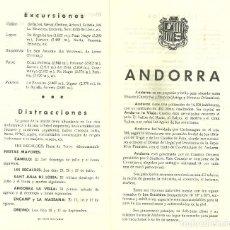 Folletos de turismo: 3631.- ANDORRA - DIPTICO TURISTICO DE SINDICAT D`INICIATIVA DE LES VALLS D`ANDORRA AÑO1963. Lote 195253456