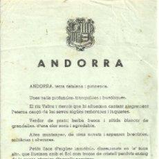 Folletos de turismo: 3631.- ANDORRA - FULL TURISTIC PUBLICITAT. Lote 195253620