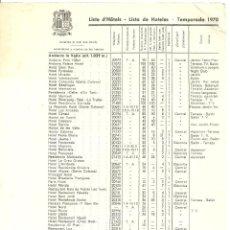 Folletos de turismo: 3631.- ANDORRA - LISTA DE HOTELES EN ANDORRA TEMPORADA 1970. Lote 195253833