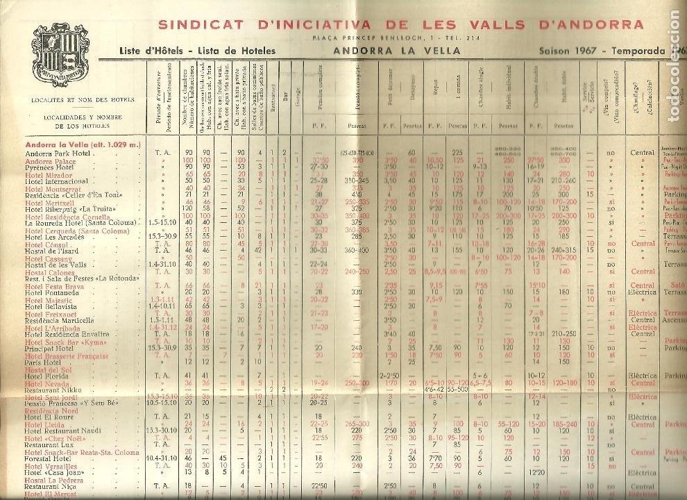 3631.- ANDORRA - LISTA DE HOTELES EN ANDORRA TEMPORADA 1967 (Coleccionismo - Folletos de Turismo)