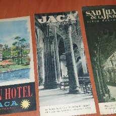 Folletos de turismo: JACA, 3 FOLLETOS TURISTICOS, DESPLEGABLES, 1958. Lote 195410316