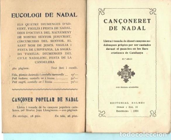 Folletos de turismo: FOLLETO DE FOMENT DE PIETAT CANÇONERET DE NADAL DEL AÑO 1956 - Foto 3 - 195422376