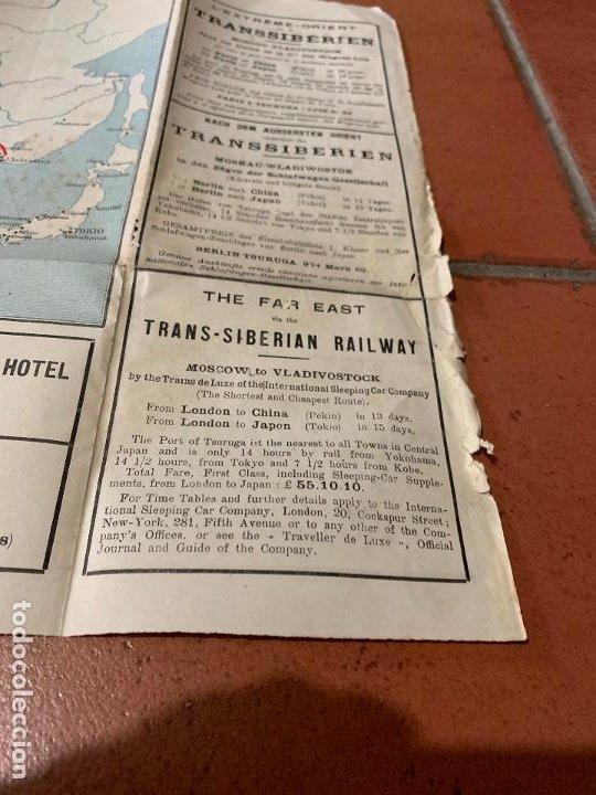 Folletos de turismo: Excepcional mapa de Ppios S.XX mapa de la ruta Tren Transiberiano. Cie Internationale des wagons lit - Foto 9 - 198721052
