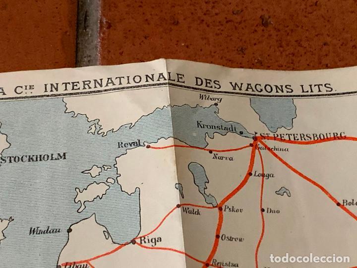 Folletos de turismo: Excepcional mapa de Ppios S.XX mapa de la ruta Tren Transiberiano. Cie Internationale des wagons lit - Foto 14 - 198721052