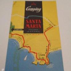 Folletos de turismo: CULLERA. VALENCIA. CAMPING SANTA MARÍA. DIPTICO PUBLICITARIO. Lote 202760460