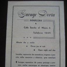 Brochures de tourisme: PAMPLONA. GARAGE DORIA. FOLLETO TURISTICO. Lote 202895040