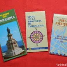 Folletos de turismo: MAPA Y PLANO TARRAGONA, GUIA DE L'AVENTURER 1995 PORT AVENTURA AÑOS 90. Lote 204244932