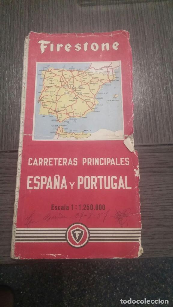 MAPA ANTIGUO FIRESTONE - ESPAÑA Y PORTUGAL - ESCALA 1:1.125.000 (Coleccionismo - Folletos de Turismo)